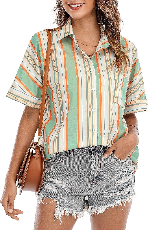 ST. JUBILEENS Women's V-Neck Striped Chiffon Blouses Button Down Pocket Tops Tunic Loose Flowy Shirts