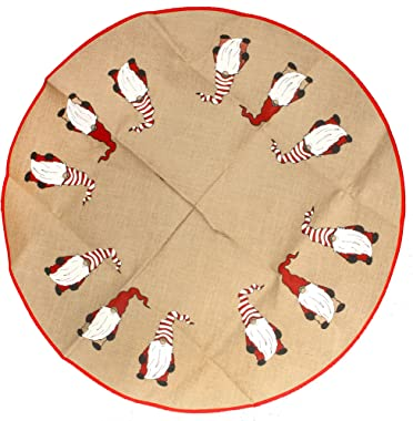 """BambooMN 39"""" Round Christmas Tree Skirt Floor Base Cover Decoration Holiday Collection Jute Burlap, Gnome Edition, 1 Piece"""