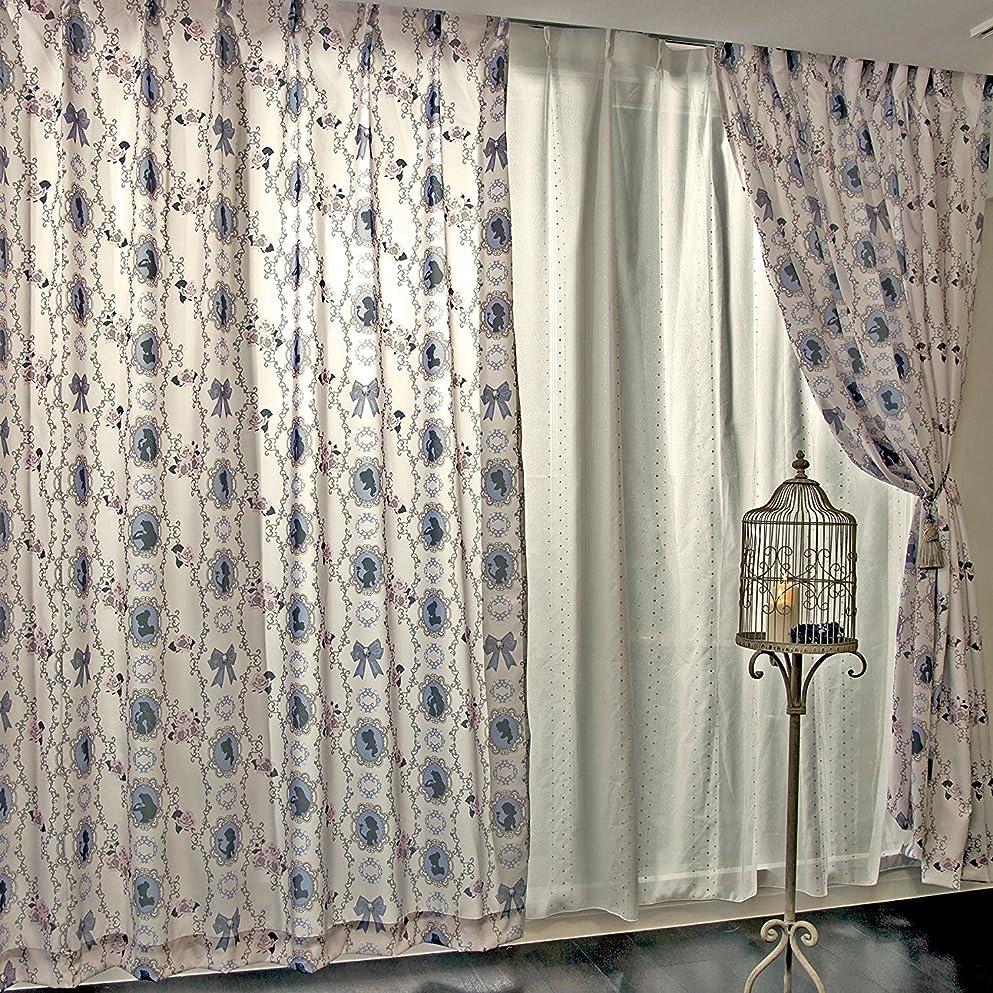 ペニーこのモーターDisney(ディズニー) プリンセス 遮熱カーテン 2枚セット 幅100×192cm丈 ベージュ [NDY-14]