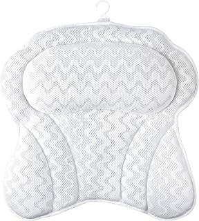 Sierra Concepts Ergonomic Heavenly Luxury 3D Mesh Spa Bath Pillow for Bathtub, Spa with Six Strong Grip Suction Cups - Sof...
