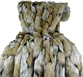 Thomas Collection Wolf Faux Fur Blanket - Luxury Taupe Black Faux Fur Throw Blanket & Bedspread - Taupe Wolf Fur Throw - Super Soft Taupe Black Fur Blanket - Wolf Faux Fur, Made in USA, 16484