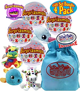 Surprizamals Series 9 Stuffed Animals Surprise Mystery Plush in a Ball Gift Set Party Bundle with Exclusive Matty's Toy Stop Storage Bag - 4 Pack (Assorted)