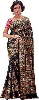 SareesofBengal Women's Allover Swarnachari Baluchari Silk Saree Handwoven Indian Saree Black Katan Silk Saree Bridal Saree Zari Sari Wedding Saree Eid Saree