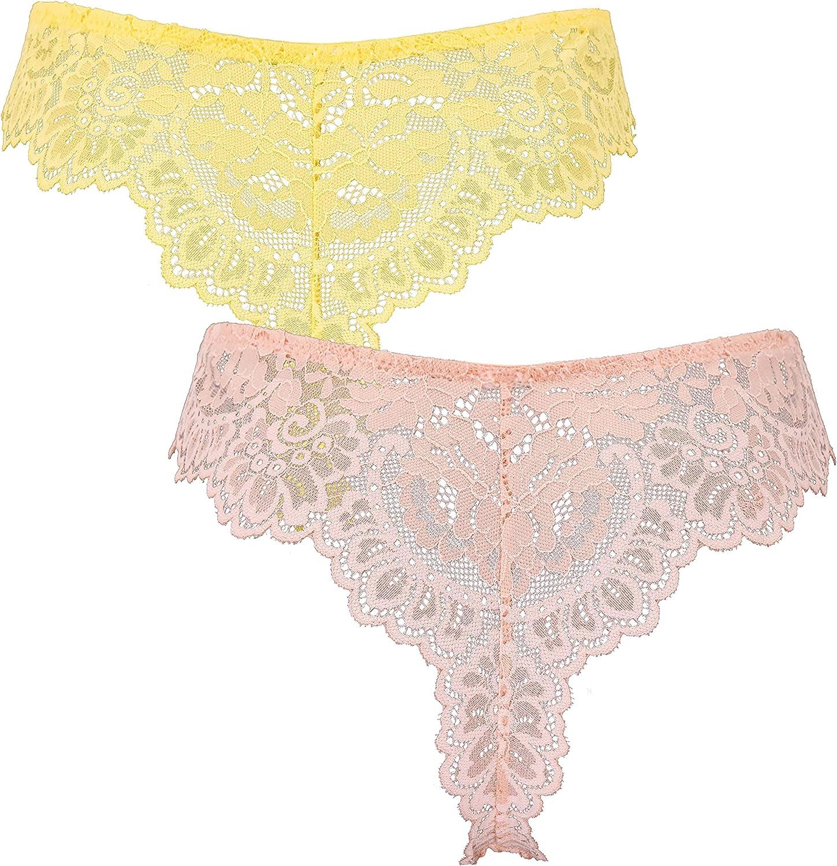 Curve Muse Women's Pack of 2 Comfort Sheer Lace Tanga Hipster Boyshorts Panties