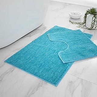 Lot de 2 Tapis de Bain antidérapants Super Doux et Brillants, très Confortables et absorbants pour Salle de Bain, Toilette...
