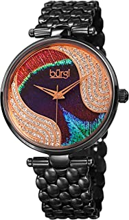Burgi Unique Swarovski Crystal Peacock Feather Pattern Watch - Sparkling Crystal Colorful Dial and Case on Stainless Steel Bracelet Watch - BUR162