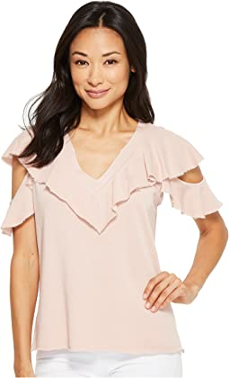 Lanston Cold Shoulder Ruffle Tee