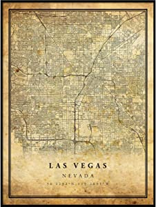Las Vegas map Vintage Style Poster Print | Old City Artwork Prints | Antique Style Home Decor | Nevada Wall Art Gift | Antique map Wall Art 16x20