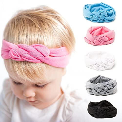 Felicity Kate Baby Girl Solid Knotted Turban Headband (5 Pack) 1000c73915c