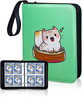 CLOVERCAT Waterproof 4 Pocket Trading Card Binder - Compatible with Pokemon Cards - Portable Storage Case with Protective ...