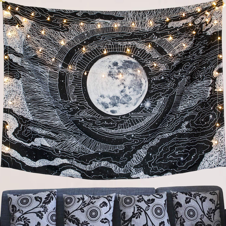 Dremisland Moon And Star Wall Tapestry Mandala Wall Hanging Tarot Tapestries Black White Wall Blanket Wall Art For Living Room Bedroom Decor Moon M 130 X 150 Cm 51 X 59