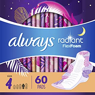 Always Radiant Feminine Pads for Women, Size 4, 60 Count, Overnight Absorbency, With..