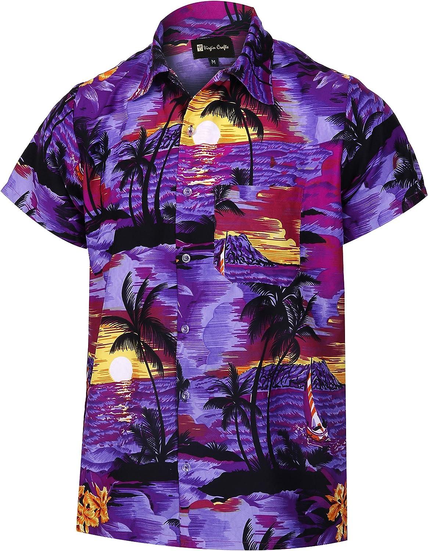 Virgin Crafts Hawaiian Shirt for Men's Short Sleeve Beach Print Casual Fashion Summer Shirt, Greenm, 4XL | Chest: 60