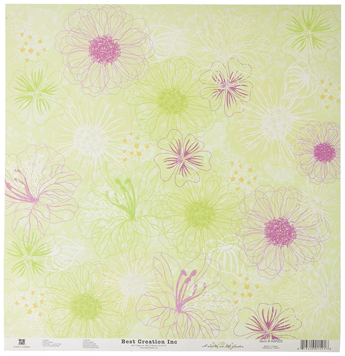 Best Creation 12 by 12-Inch Glitter Paper, Blooming, Case Packed, 25 Sheets