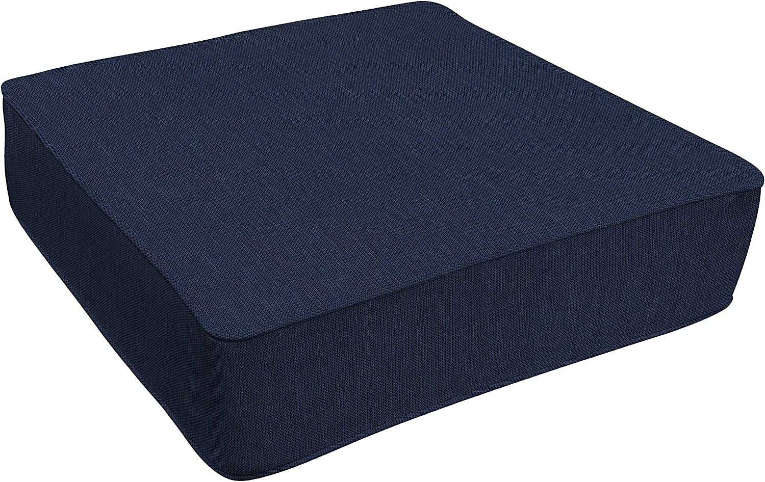 Honeycomb Indoor/Outdoor Textured Solid Indigo Blue Deep Seating Chair Cushion Containing Recycled Polyester Fill, Reversible Design, Weather and Stain Resistant Patio Cushions: 24