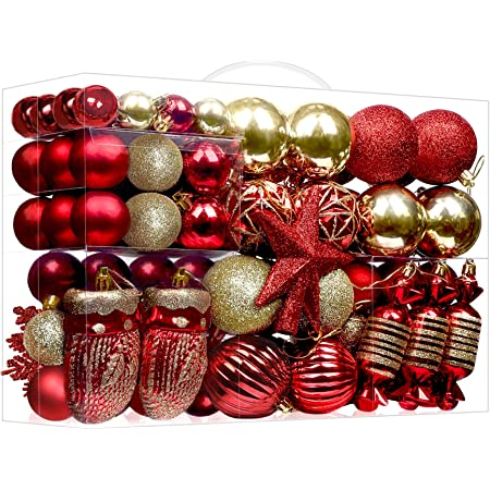 Traditional Red and Gold Christmas Ornaments Set Handmade Unique Christmas Gifts Unbreakable Tree Ornaments