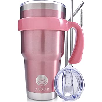 ALBOR Triple Insulated Stainless Steel Tumbler 30 Oz Rose Gold Coffee Travel Mug With Handle
