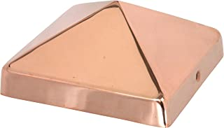 8x8 Copper Pyramid Post Cap by Captiva - Extended Lip - Solid Copper - (7-1/2