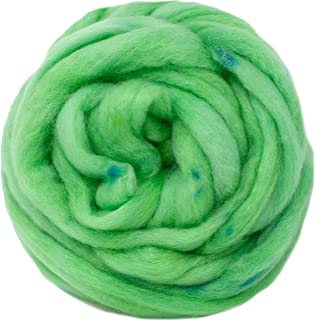 Wool Roving Hand Dyed. Super Soft BFL Combed Top Pre-Drafted for Easy Hand Spinning. Artisanal Craft Fiber ideal for Felting, Weaving, Wall Hangings and Embellishments. 4 Ounce. Nile Green