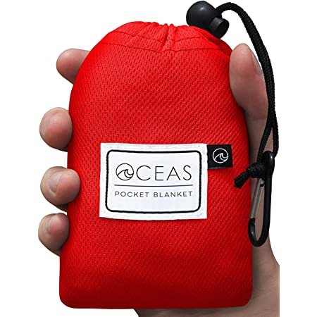 FUNSS Mini Pocket Picnic Blanket Durable Nylon Lightweight Waterproof Picnic Mat with Portable Bag for Beach Camping Travel,blue