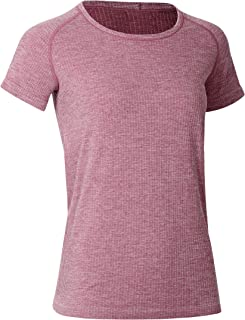 CRZ YOGA Women's Seamless Workout Athletic Tee Stretch Raglan Sleeve Shirts Running Tops Misty Merlot Shallow Flower Ash S...