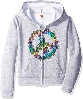 Hanes Big Girls' Ecosmart Graphic Full-Zip Fleece Hoodie