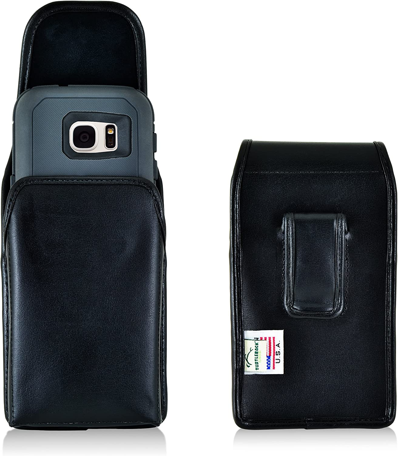 Turtleback Holster Made for Samsung Galaxy S7 with OB Defender or Bulky Cases, Black Vertical Belt Case Leather Pouch with Executive Belt Clip Made in USA