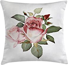 Ambesonne Flower Decor Throw Pillow Cushion Cover, Shabby Chic Romantic Decor with a Big Roses and Leaves Buds Hand Color Image, Decorative Square Accent Pillow Case, 18 X 18 Inches, Pink and Red