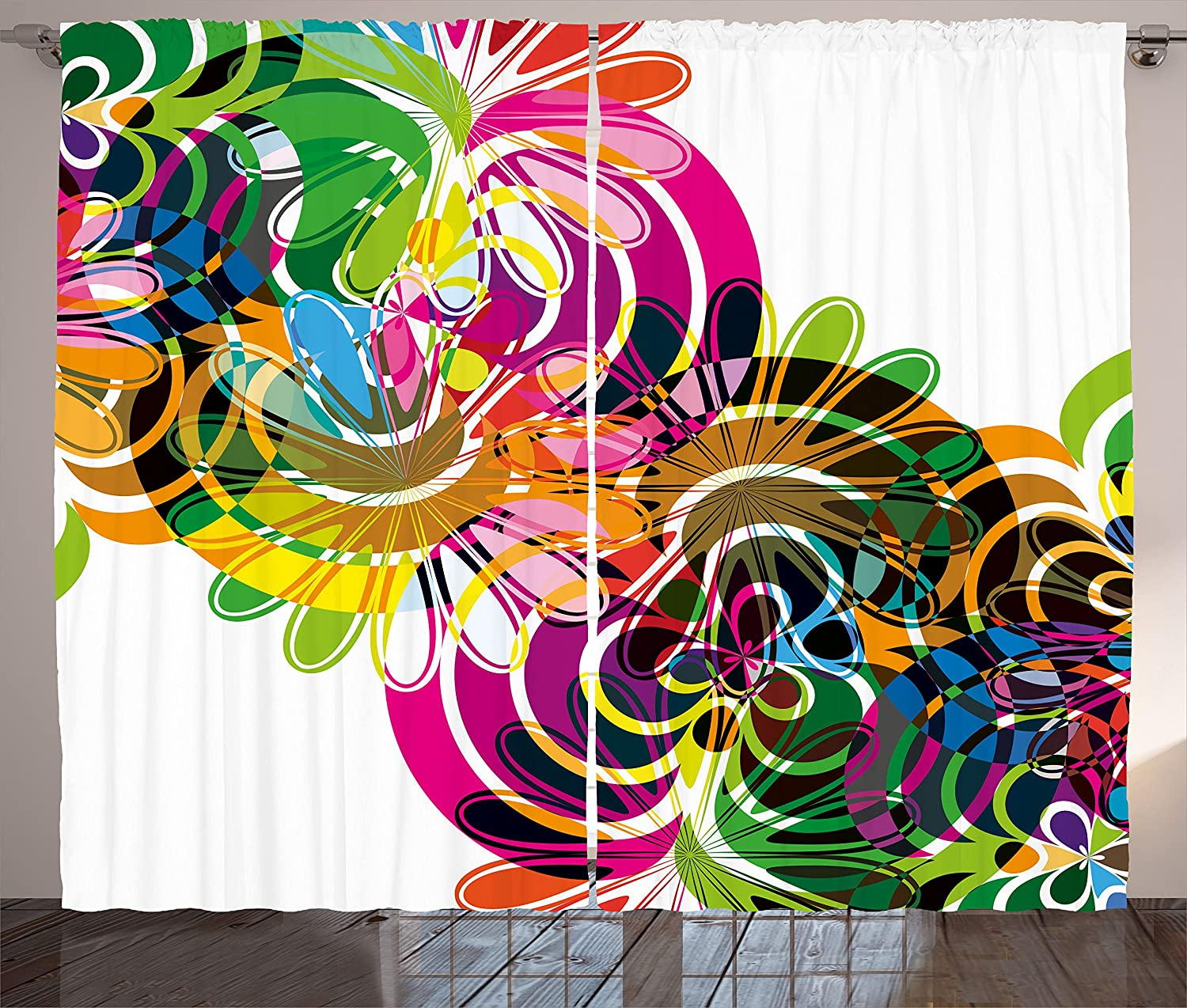 Ambesonne Modern Curtains Rainbow Colorful Design Max 85% OFF with Abstract New Free Shipping