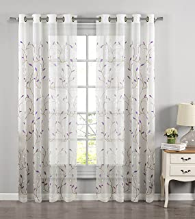 Window Elements Wavy Leaves Embroidered Sheer Extra Wide 54 x 84 in. Grommet Curtain Panel, Lilac