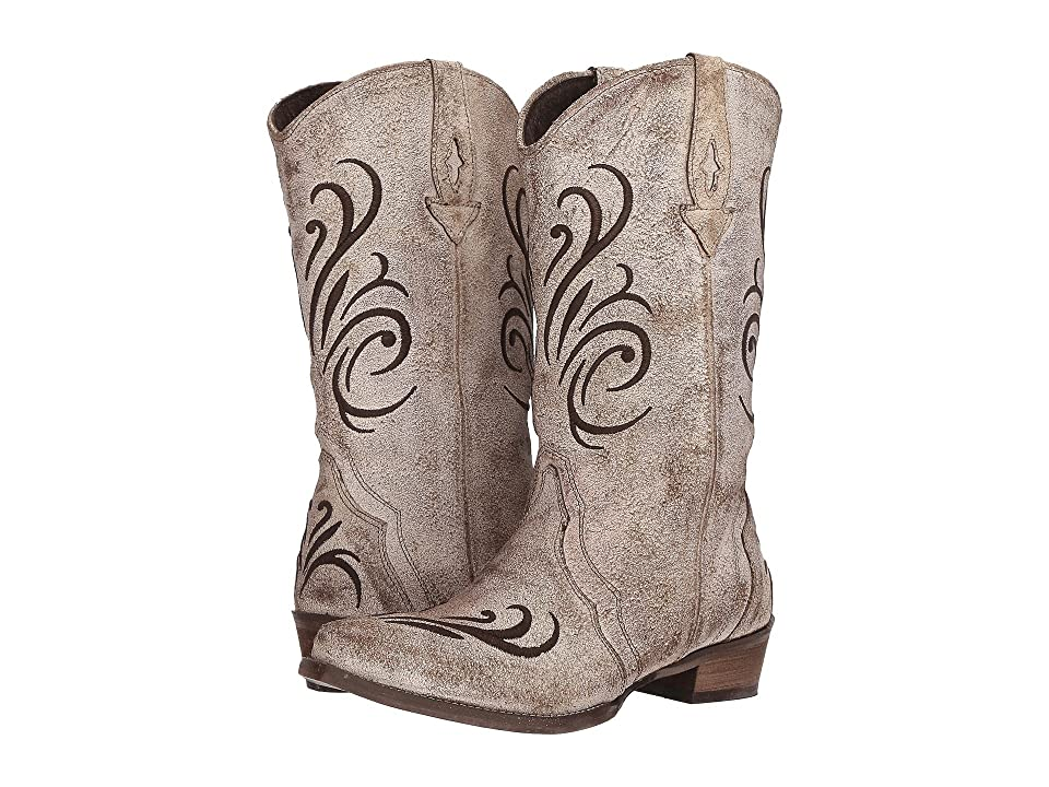 Roper Olivia (Cream White Antique Brushed Suede) Cowboy Boots