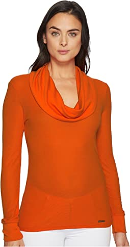 MICHAEL Michael Kors - Long Sleeve Mini Waffle Cowl Top