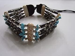 Turquoise & Brown Choker Buffalo Bone Geronimo Regalia Pow Wow Indian Jewelry 2
