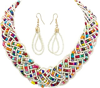 Gypsy Jewels Wide Braided Seed Bead Multi Strand Statement Necklace & Earrings Set