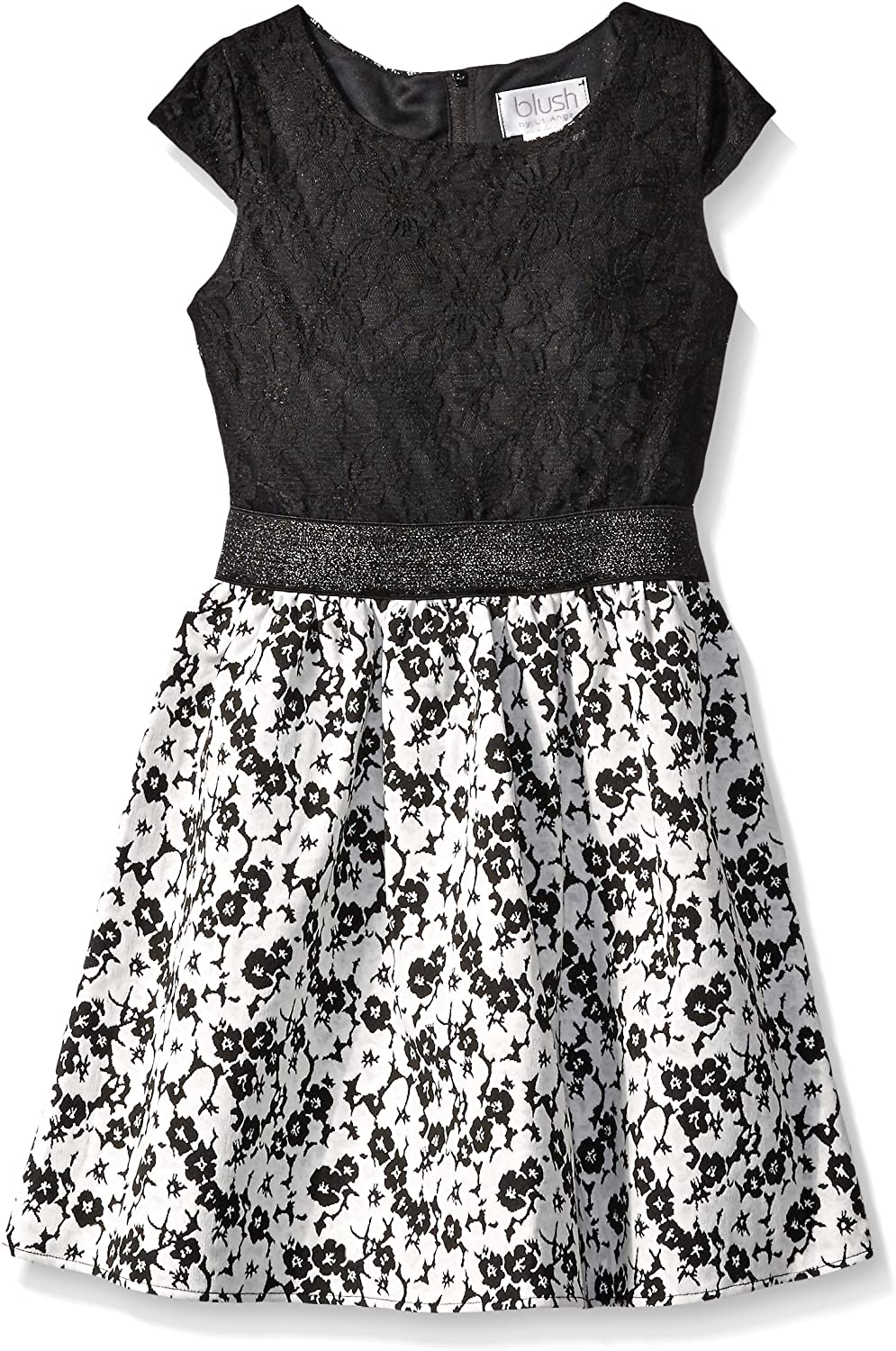 Blush by Us Angels Girls' Lace Floral Brocade Dress with Cap Sleeve and A Full Skirt