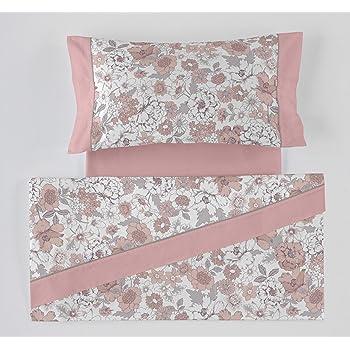 ES-Tela - Juego de sábanas Estampadas Erica Color Malva (4 Piezas) - Cama de 150 cm. - 50% Algodón/50% Poliéster - 144 Hilos: Amazon.es: Hogar