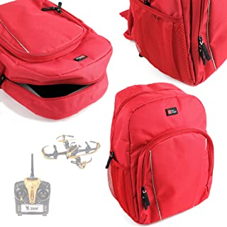 DURAGADGET Drone/Quadcopter Carry Bag Water-Resistant Bright Red Backpack with Black Rain Cover - Suitable for JJRC H8C Drone, UDI U839 Drone and Yi Zhan X4 Drone