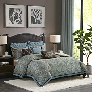 Hampton Hill Lauren King Size Bed Comforter Duvet 2-In-1 Set Bed In A Bag - Blue, Brown , Luxurious Jacquard Paisley – 9 P...