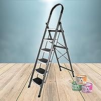Plantex High Grade Heavy Steel Folding 6 Step Ladder for Home - 6 Wide Anti Skid Steps (Gray & White)