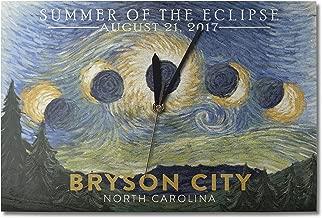 Lantern Press Bryson City, North Carolina - Starry Night - Summer of The Eclipse (10x15 Wood Wall Clock, Decor Ready to Hang)