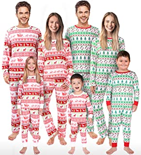 Rnxrbb Holiday Christmas Pajamas Family Matching Pjs Set Xmas Jammies for Couples and Kids Green Cotton