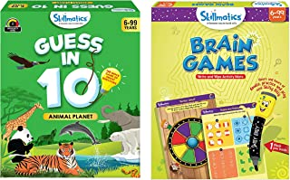 Skillmatics - Guess in 10 Animal Planet + Brain Games (Ages 6-99) Bundle | Card Game of Smart Questions + Reusable Activit...