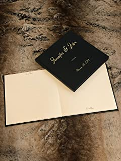 Ellie McKay Custom LAY-FLAT Wedding Guest Sign in Book - Premium Bonded Leather Embossed with Gold or Silver Foil - By (Black - Gold Foil, 10