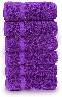 TURKUOISE TURKISH TOWEL Premium Quality 100% Turkish Cotton Eco-Friendly Hand Towels (Set of 6, Eggplant)