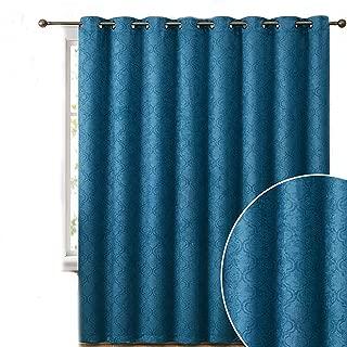 HLC.ME Redmont Lattice Extra Wide-Width Thermal Insulated Energy Efficient Room Darkening Blackout Grommet Patio Door Curtain Panel for Sliding Doors - 102