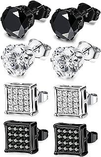 4 Pairs Stainless Steel Stud Earrings for Men Women Earrings CZ Inlaid,6-8mm