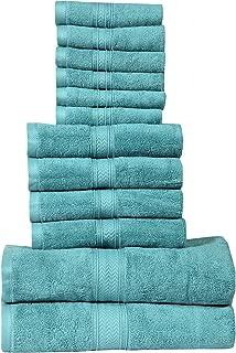 HILLFAIR 12 Piece- 600 GSM Cotton Bath Towels Set - Hotel Spa Towels Set- 2 Bath Towels, 4 Hand Towels, 6 Washcloths- Absorbent Super Soft Cotton Towels Set- Coral Towel Set- 100% Cotton Towel Set