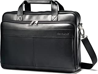 (41cm , Black) - Samsonite - Leather Slim Laptop Briefcase - Black