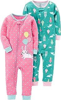 Baby Girls' 2-Pack Cotton Footless Pajamas