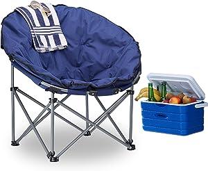 Relaxdays Silla Camping Plegable XXL Moon Chair con Bolsa de Transporte, Azul Oscuro